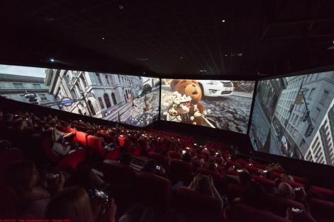 Viewers watching the new ScreenX at Cineworld Leeds