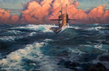 A New and Brighter Dawn, USS Thresher (SSN593), oil on linen, 24x36