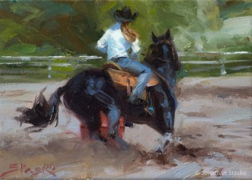 Barrel Racing II, oil on canvas, 5x7, SOLD