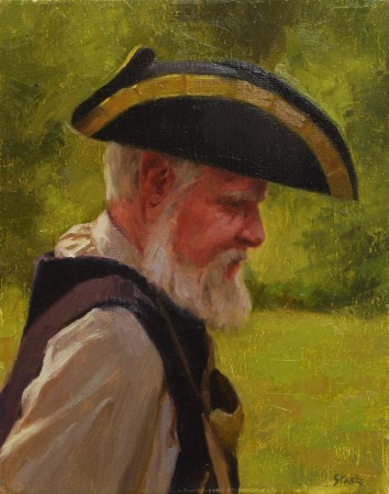 Man With the Tricorne Hat, oil on linen, 14x11