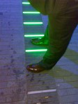 A light installation around the South Bank. These are Dan\'s feet.