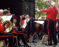 The Guards Association Band playing a you-know-what in Leicester Square, 2004.