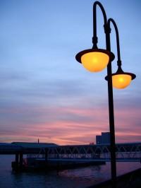 Canary Wharf at sunset on Sunday