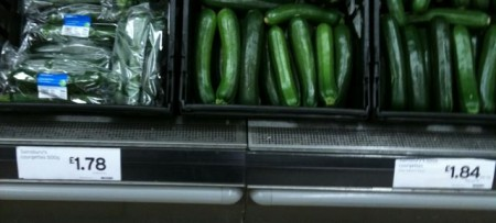 30 days without a supermarket: picture of courgette pricing in Sainsburys