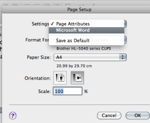 Putting a landscape page into a portrait document: the Page Setup menu in Mac OS