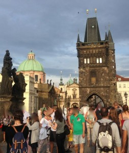 The Charles Bridge. Log-jammed because of people photographing their own passage across it