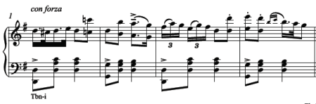 Male solo from Diable à quatre piano score: a big two for allegro