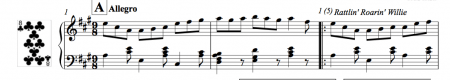 Image of the free downloadable piano score of triple jigs for ballet class