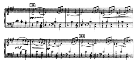 Screengrab of the piano score of Tchaikovsky's Sleeping Beauty, Lilac Fairy Attendants