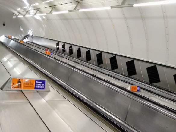 Leicester Square tube station, Northern Line escalator, free of adverts