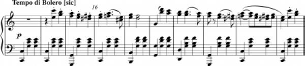 Musical score of Bolero by Pugni