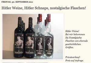Screen grab of website advertsing Hitler wine and Hitler Schnapps