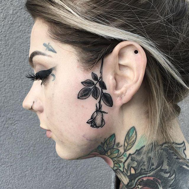 minimalistic rose tattoo all