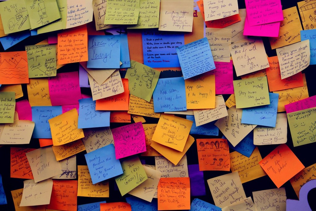 post-it notes on board
