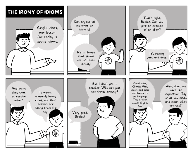 black and white comic strip template from Canva about a teacher and a student discussion the definition of idioms