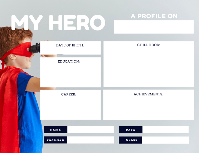 Graphic organizer template from Canva  for a profile of a hero. Includes fields for date of birth, education, career, childhood and achievements.