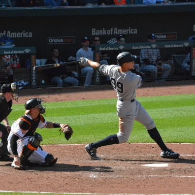 Orioles vs. Yankees, Sept. 7, 2017: Aaron Judge swings the bat.