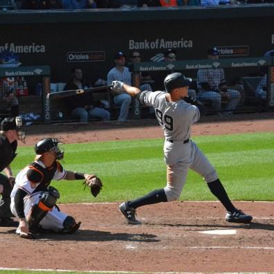 Orioles vs. Yankees, Sept. 7, 2017: Aaron Judge swings the bat.