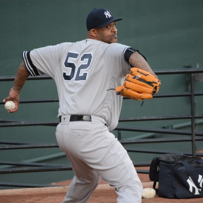 Baltimore Orioles vs. New York Yankees, May 22, 2019: CC Sabathia warms up in the bullpen.