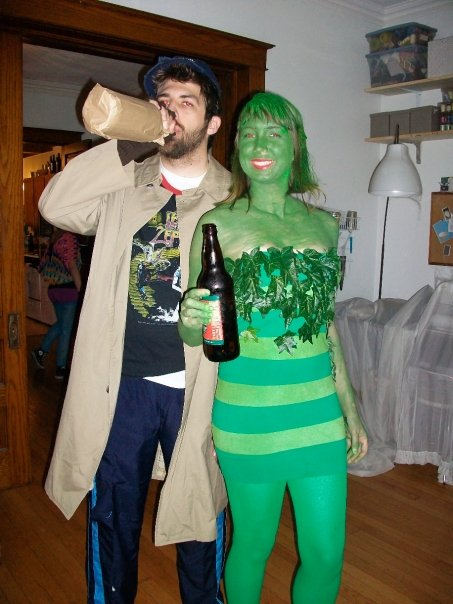 Christopher as a hobo and Abby as the Jolly Green Girl for Halloween 2009..