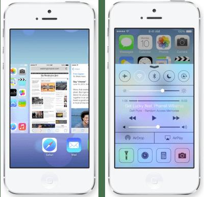 Screen shots of Apple's iOS 7.