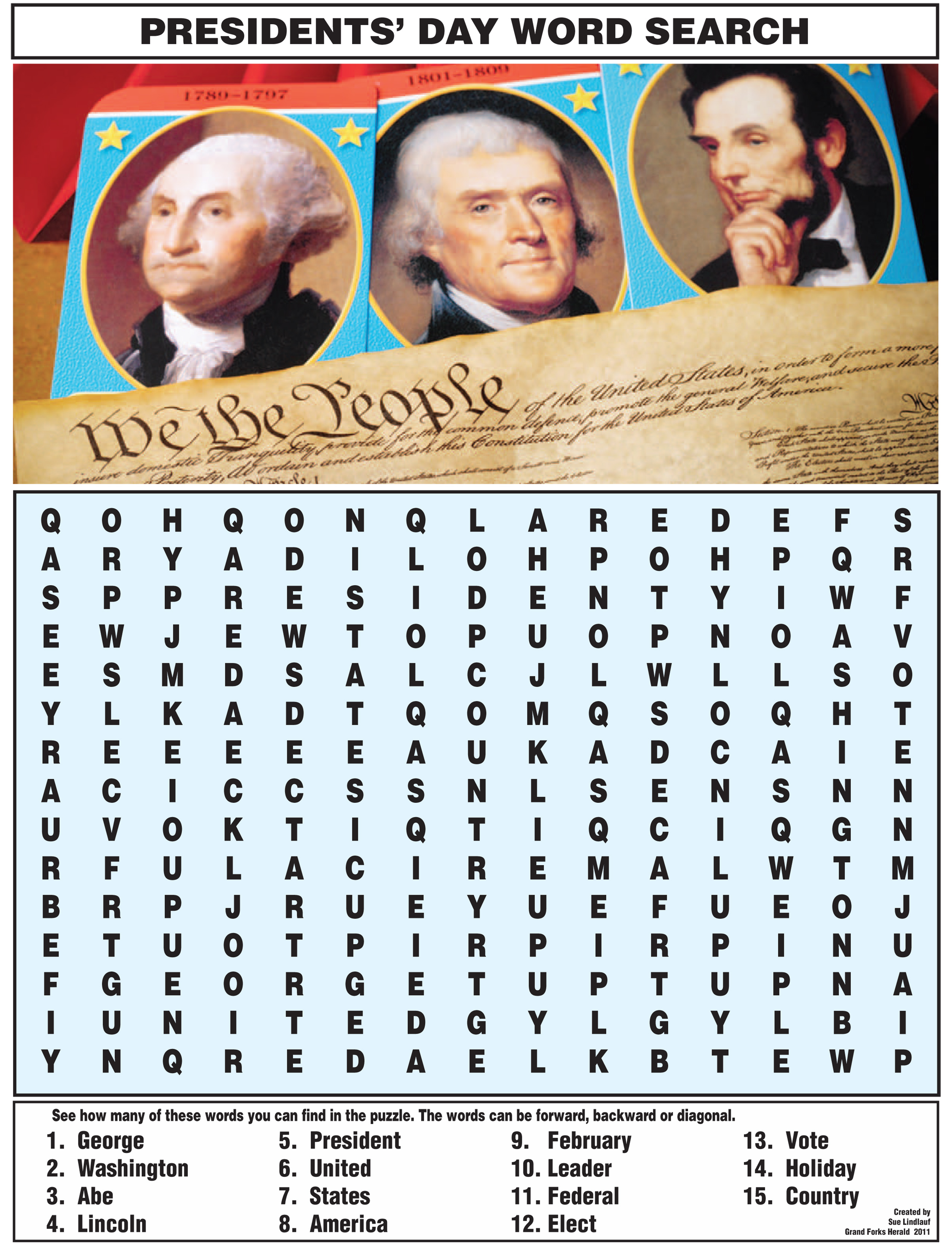 Find The President In This Word Search