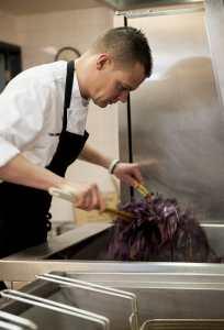 Chef working in a school kitchen