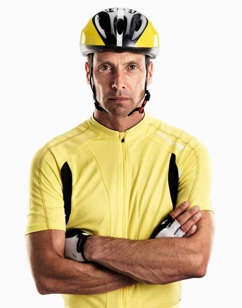 Male cyclist studio portrait