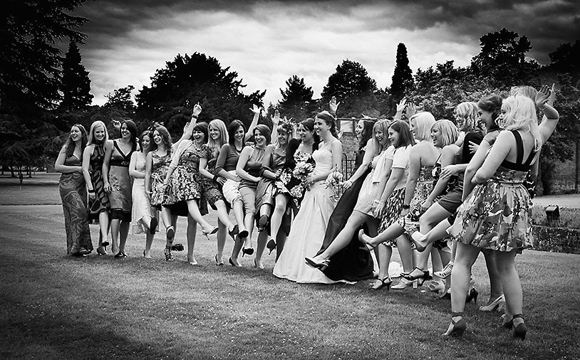 Fun wedding group shot of girls, jones and co photography at Warbrook House