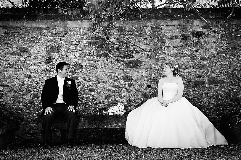 Gate Street Bride and Groom sitting on a bench