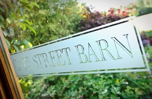 Gate Street Barn glass dorr sign