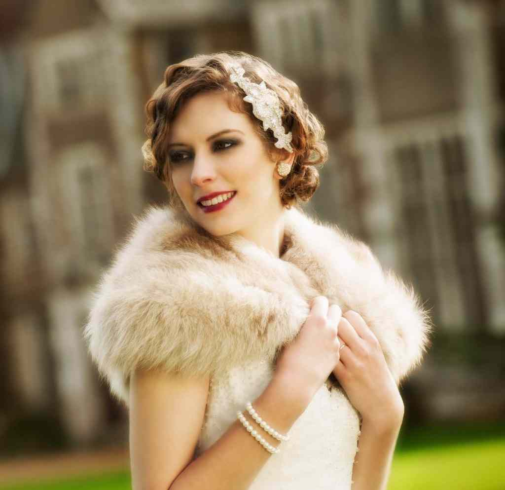 1920s Vintage Styled Wedding Shoot Bride at Loseley