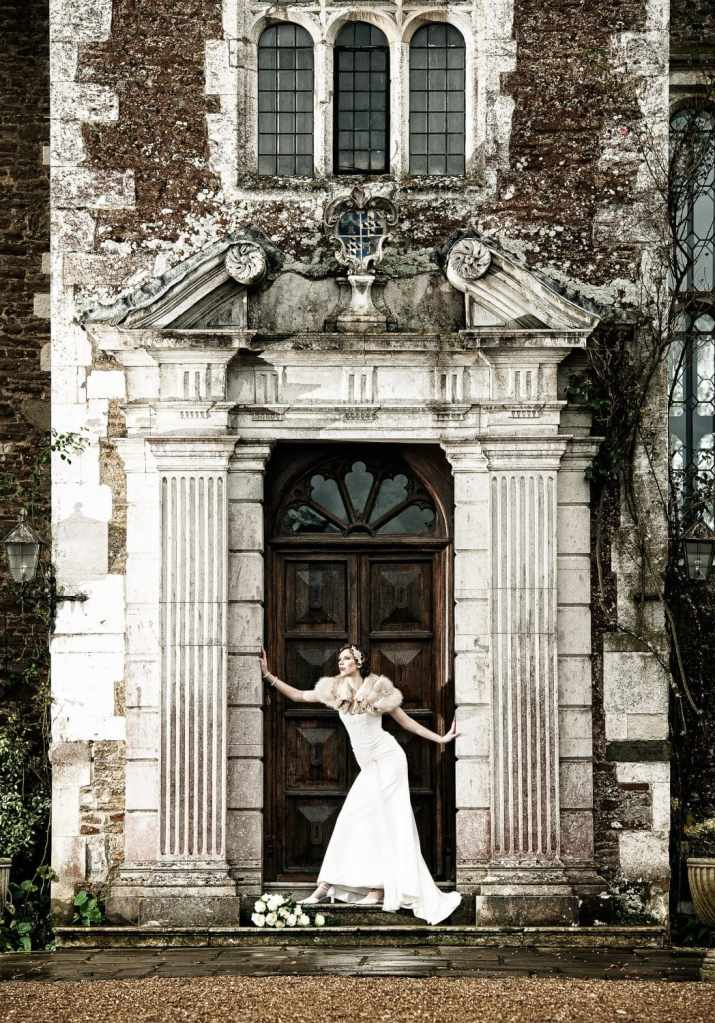 1920s Great Gatsby Styled Wedding Shoot Bride in Doorway