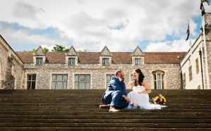 Couple on the steps at Winchester Great Hall