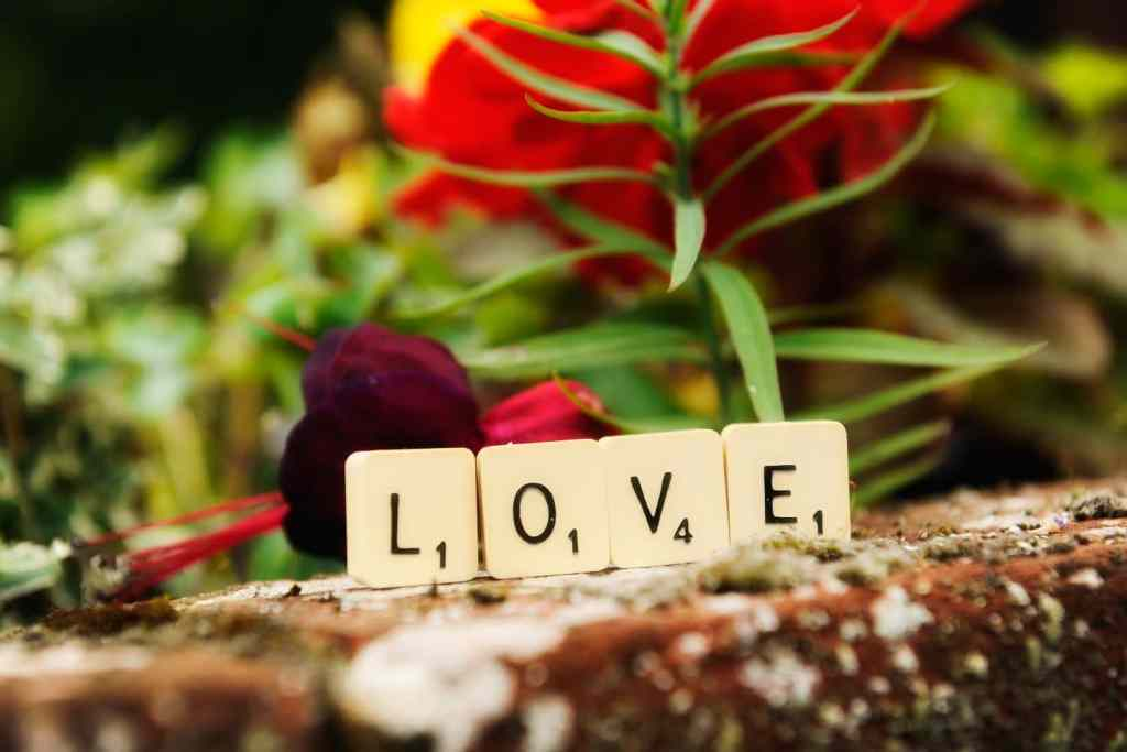Scrabble tiles spelling love for a wedding
