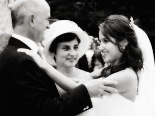 Parents with the bride. Farnham Castle