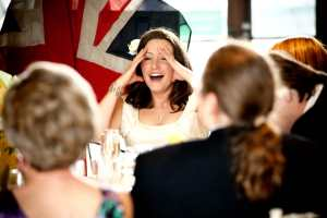 Embarrassed bride during speeches at Tetbury