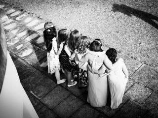 Group of girls posing for the wedding photographer