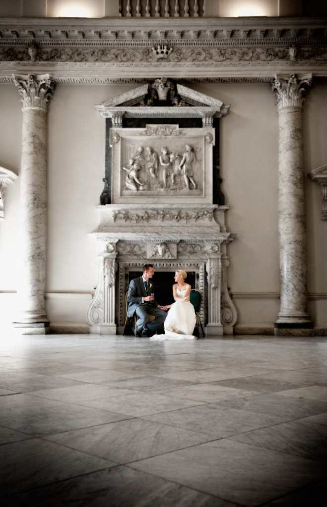 Bride and Groom have a quiet moment at Clandon Park