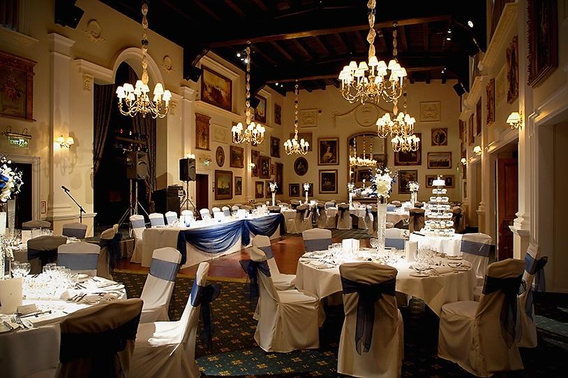 Ballroom set up for wedding breakfast at Wentworth Club