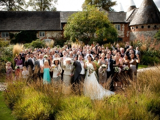 Wedding in the garden at The Barn at Bury Court