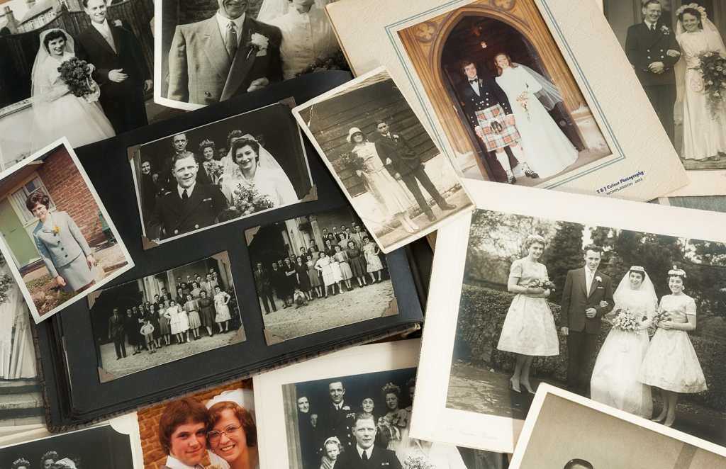 Old wedding photographs going back to the early 1930s.