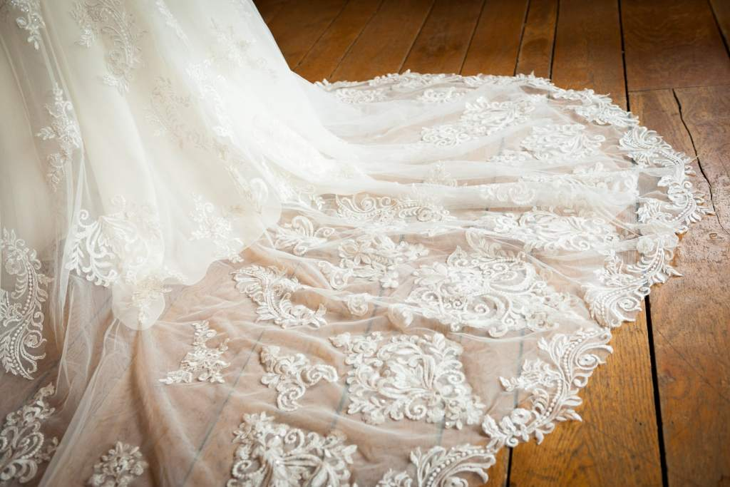 Wedding dress train detail