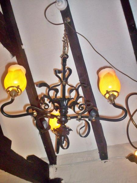French neo-gothic hanging lamp with Steuben lampshades
