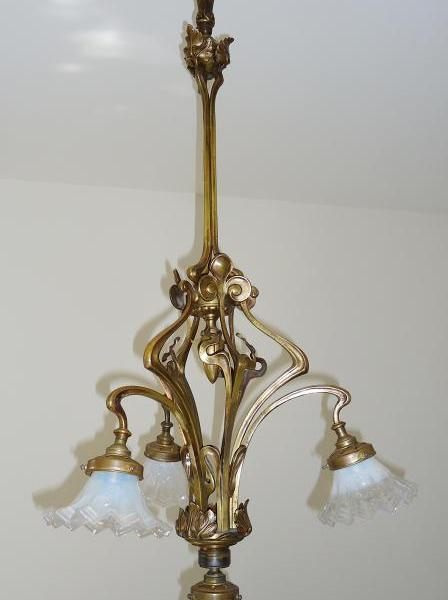 French art nouveau bronze four-branch ceiling light, circa 1900