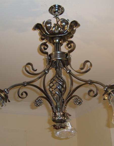 English wrought-iron neo-gothic ceiling light, circa 1905