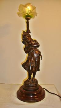 Oiseau Cheri, an Auguste Moreau figural lamp, circa 1900 ...