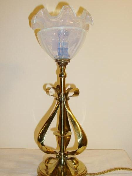 English brass arts and crafts table lamp, circa 1905