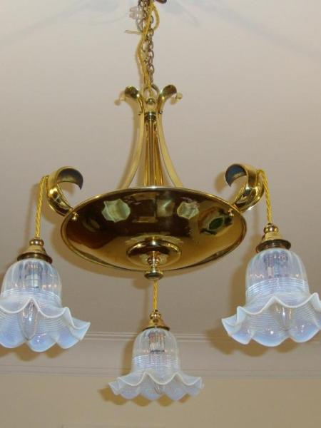 English art nouveau cast brass hanging light, circa 1910