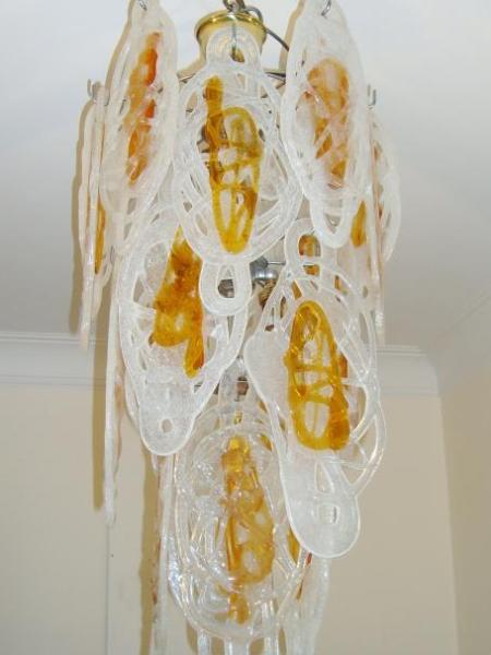 Attributed Italian contemporary glass chandelier, circa 1960-80